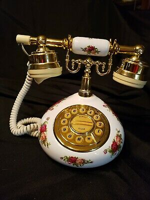 Royal Albert Old Country Roses Porcelain Push Button Telephone