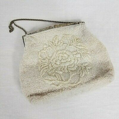 Vintage Floral Beaded Clutch Purse White Flaws