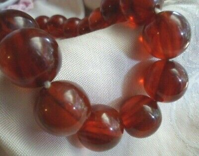 Vintage Jewellery Cherry Red Bakelite Bead Necklace Antique Jewelry Tested