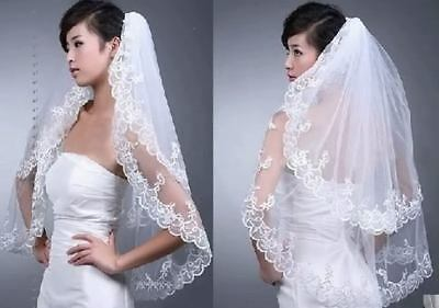 New 2 Layer Tulle Lace Short Bridal Veil With Comb Elbow Length Wedding Veils