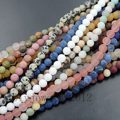 """Matte Frosted Natural Gemstone Round Loose Charm Beads 15"""" for Jewelry Making"""