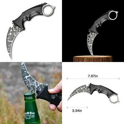 CS GO Tactical Hawkbill Neck Knife W Rope & ABS Sheath Upgraded Vers GRAY Relief