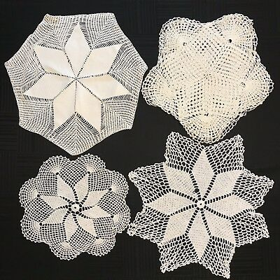 """6 Antique VTG Handmade Crocheted Round 14""""-18"""" Doilies Cotton Doily Lot Large"""