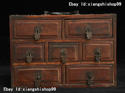 """8"""" China Huanghuali Wood handcrafted seven Drawer portable Cupboard Cabinet Box"""