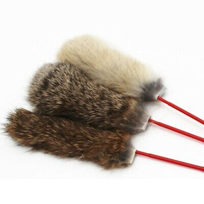 Hair Fur Teaser Spin Wand Play Fake Cat Stick Feather Exerciser Pet Kitten Toy
