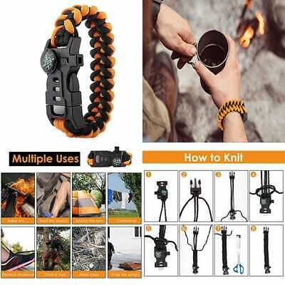 Paracord Bracelet Emergency Survival Gear Set W Whistle Embedded Compass Fire St