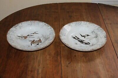 2 Antique Signed Japanese Chinese Soup Serving Bowls with  Birds 9 1/2""