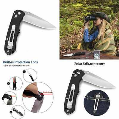Big Pocket Knife W AXIS Lock 8Cr13mov Stainless Steel Blade G10 Handle Belt Clip