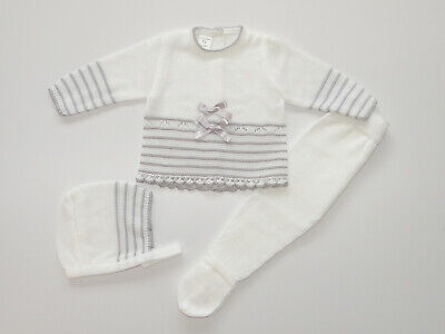 Baby Knit Set White & Grey. Made in Spain.