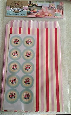 Paper Treat/Party/Goody/Gift  Bags with stickers Pack of 10 Pink/White Stripe3