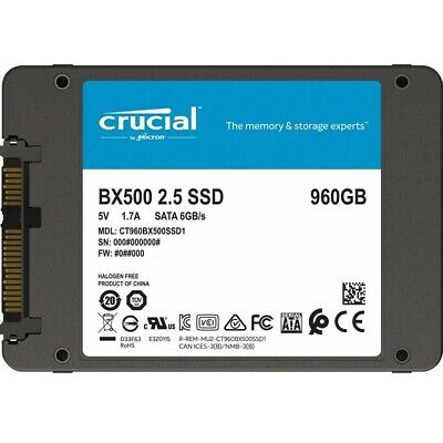 """Crucial BX500 960GB 2.5"""" SATA SSD - 3D NAND 540/500MB/s 7mm Acronis True Image"""