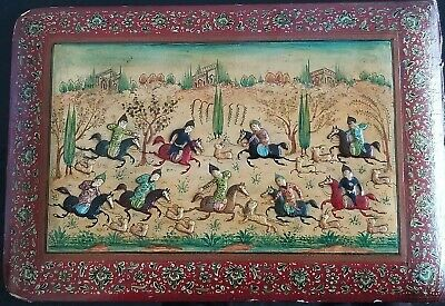 Antique Persian Fine Miniature Plaque Hand Painted On Wood/bone? Hunting Scene