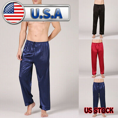 Mens Satin Silk Pajamas Summer Long Pants Sleepwear Casual Outwear Silk Trousers