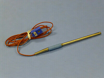 "Omega T-Type Thermocouple Temperature Probe with Connector, 4"" Long"