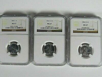 1943 P,D&S Lincoln Steel Cents 3-Coin Set  NGC Ms 67  Nice Coins , Full Luster