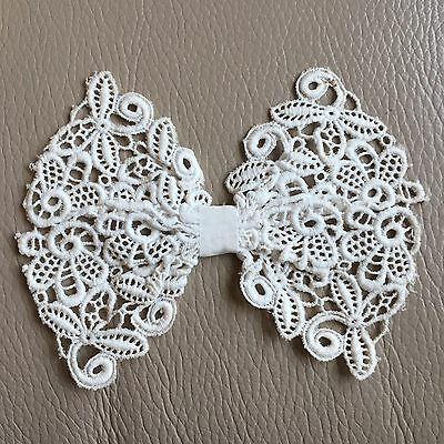 Antique Lace Collar Bow Vintage Edwardian Schiffli White Tie Bridal Wedding