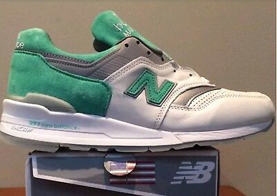 premium selection a196f ffbd7 NEW BALANCE 997 white mint green leather sneaker shoes Made in USA 998 996