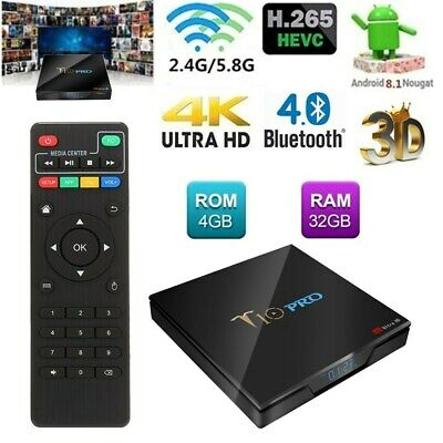 T10 PRO 4/32G Smart TV Box Android 8.1 Quad Core S905X2 Dual WiFi 4K Player G9I6