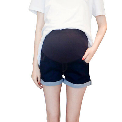 Women Maternity Casual Elastic Jeans Pregnancy Shorts Belly Band Demin Pants New