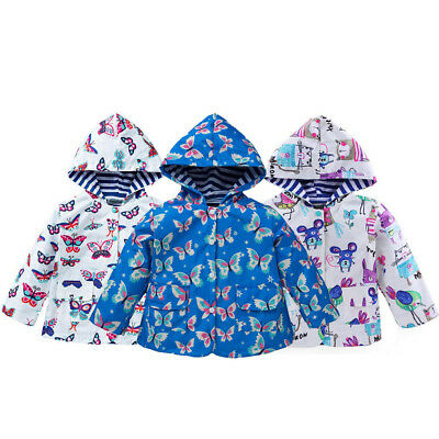 Girls Butterfly Pattern Hooded Rain Jacket Outwear Waterproof Raincoat Child New