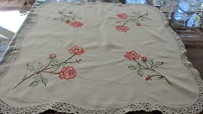 Vintage  Hand Embroidered Roses Tablecloth  90cms x 86 cms  Lace Trim bygone era