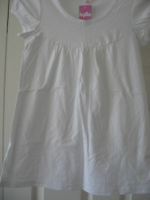 NEW GIRL'S M&Co KYLIE  MACKAYS COTTON LONG T SHIRT TOP WHITE  AGE 11 - 12 YEARS