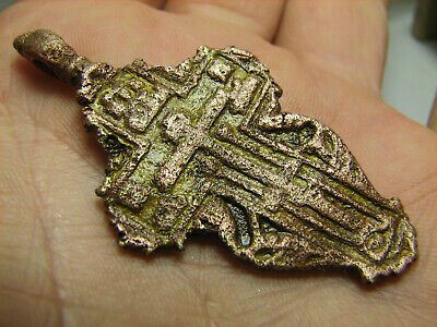 Prayer ! Authentic ! Big.relief! Late Medieval Bronze Cross Pendant #1132