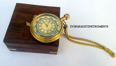 Nautical Brass Victorian Dial Pocket Watch Antique Collectible Clock With Box