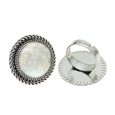 2Set/pack Silver Alloy Round Oval Blank Glass Cameo Cabs Ring Adjustable Jewelry