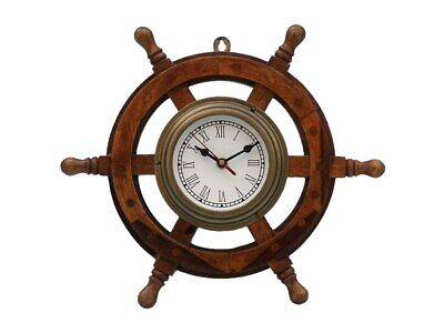 Deluxe Class Wood and Antique Brass Ship Steering Wheel Clock 18""