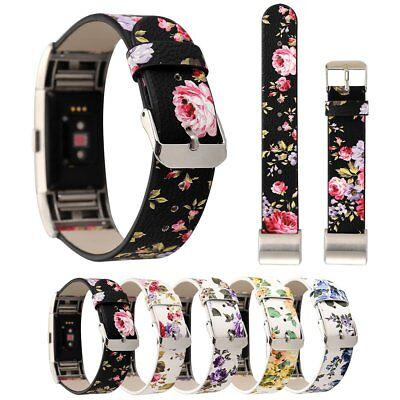Hot Flower Floral Leather Watch Band Strap Belt for Fitbit Charge 2 Replacement