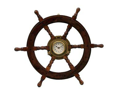 Deluxe Class Wood and Antique Brass Ship Stering Wheel Clock 24""