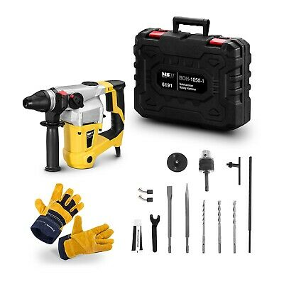 Rotary Hammer Drill + Leather Work Gloves Set SDS-Plus Chisels 5200bpm 1050W