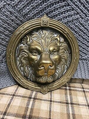Large Vintage Brass Lion Head Door Knocker Lions Old Gold Wreath Leaf Flower 8""