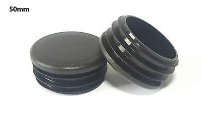 50mm-100pcs Round Plastic Black Blanking End Cap Caps Tube Pipe Inserts Plug