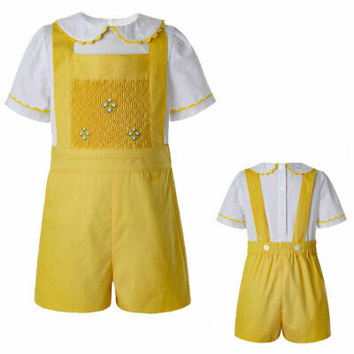 Spanish Baby Boys Shirt+Pants Shorts Overalls Smocked Party Summer Outfits Set