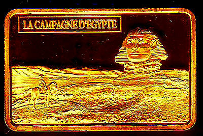 ♔♔♔ Commemorative Gold Plated Bar ♔ France ♔ Napoleon In Egypt (Sphinx) ♔♔♔