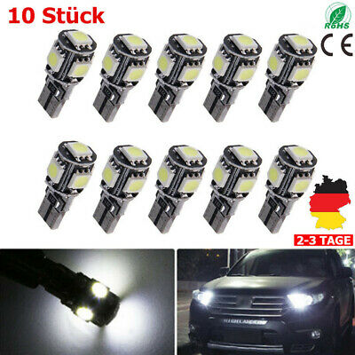 10x Auto 5SMD LED T10 Lampe Weiß CANBUS Standlicht Innenraum 12V DE DHL