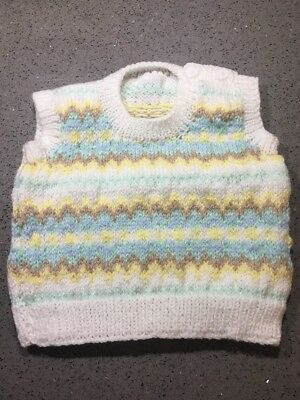 New Hand Knitted Boys Fairisle Tank Top Size 12-18 Months
