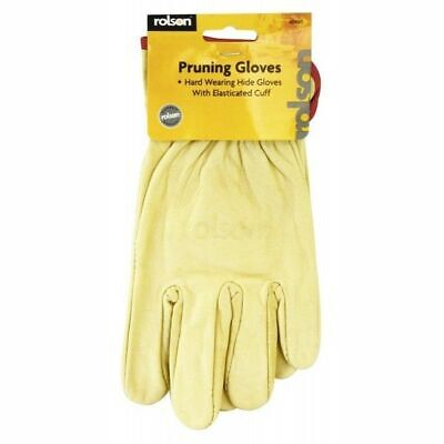 Rolson 60665 Leather Pruning Gloves Elasticated Cuff Hard Wearing Hide Gloves