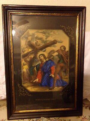 VERY OLD Religious Print of The Crucifixion of Christ in German Framed Antique