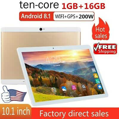 "10.1"" INCH Tablet PC Android 8.1 1GB+16GB HD Quad-core Dual Camera Google GPS US"