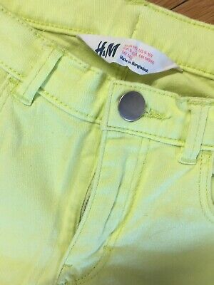 H&m  Girls Neon Jeans Trousers  Age 9-10 Yrs