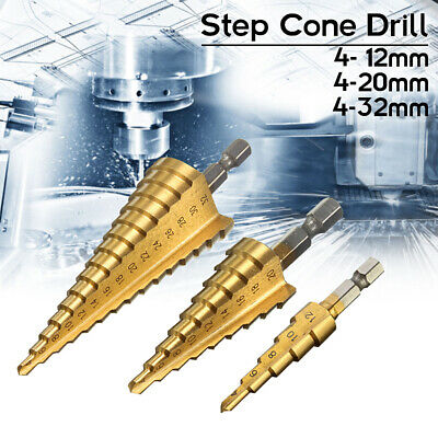 HSS Steel Step Cone Drill Titanium Bit Set Hole Cutter 4-12/20/32mm AU Ship Tool