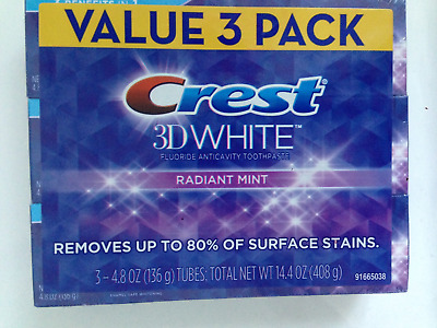 Crest 3D White Radiant Mint Value  3 X 4.8Oz Removes Up To 80% Surface Stains
