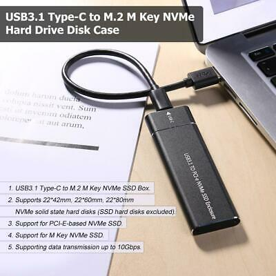 USB3.1 Type-C to M.2 M Key NVMe SSD Box Solid State Drive Hard Disk Enclosure