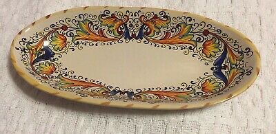 "Vntg MERIDIANA CERAMICHE Made in Italy 10.5"" Small Platter / Oval Dish / Bowl"