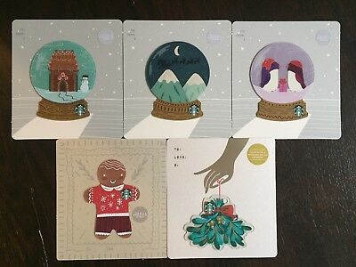 "U.S. Series Starbucks ""HOLIDAY DIE CUT SET 2018"" 5 Gift Cards -New No Value"