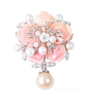 Pink Mother of Pearl 925 Sterling Silver Brooch Jewelry Gift for Women