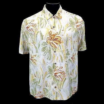 e78025b7 Tommy Bahama Shirt Mens Large Hawaiian Aloha Hula Beige Floral Silk Button  Down